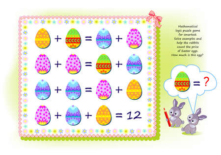 Mathematical logic puzzle game for smartest. Solve examples and help the rabbits count the price of Easter eggs. How much is this egg? Brain teaser book. Memory training exercises for seniors. Ilustracja
