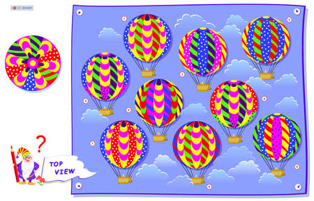 Logic puzzle game for kids. Find which of flying balloons corresponds to the top view on drawing. Brain Teaser book. Development children spatial thinking. Memory exercise for seniors. Play online. Ilustracja