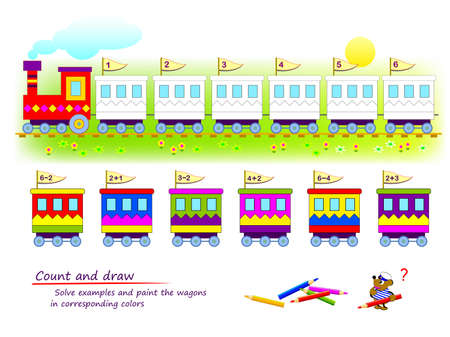 Count and draw. Math education for children. Solve examples and paint the wagons in corresponding colors. Coloring book. Mathematical logic game for kids. Exercises on addition and subtraction.
