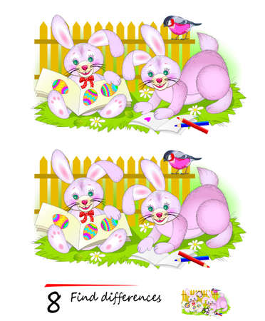 Find 8 differences. Illustration of cute Easter rabbits learning to read. Logic puzzle game for children and adults. Brain teaser book for kids. Developing counting skills. IQ test.