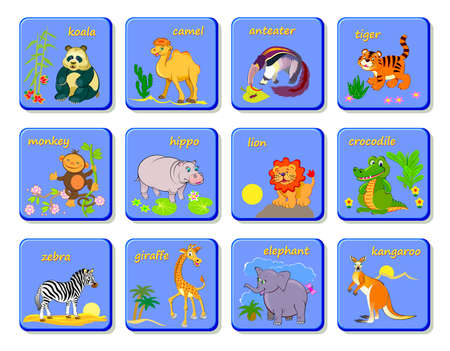 Set of playing cards with exotic animals. Zoological lotto board game. Learn English words. Study animal names. Printable illustrations of cute pets for children. Flat clip-art cartoon vector.