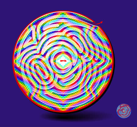 Logic puzzle game with labyrinth for children and adults. Find the way out of magic ball. Worksheet for kids brain teaser book. Trip out of depression. Maze in hypnotizing waves. Play online.