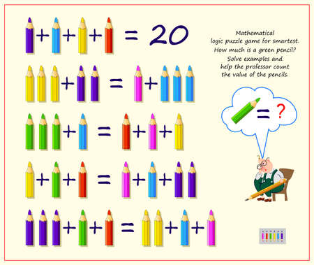 Mathematical logic puzzle game for smartest. How much is a green pencil? Solve examples and help the professor count value of the pencils. Brain teaser book. Memory training exercises for seniors.
