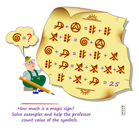 Mathematical logic puzzle game for smartest. How much is a magic sign? Solve examples and help the professor count value of the symbols. Brain teaser book. Memory training exercises for seniors. Ilustracja