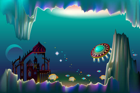 Fantasy illustration of fairyland underwater kingdom. Cover for kids fairy tale book. Background from science fiction for banner or poster. Ilustracja