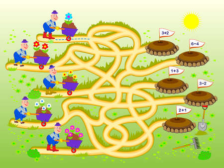Math education for children. Logic puzzle game with maze for kids. Solve examples and help the gardeners find the paths to the flower beds. Play online. Developing counting skills. Draw the ways.