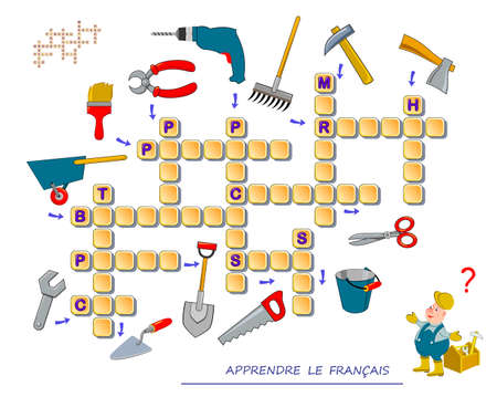 LEARN FRENCH. Crossword puzzle game with pictures. Working tools. Educational page for children to study French language and words. Printable worksheet for kids textbook. School exercise book.