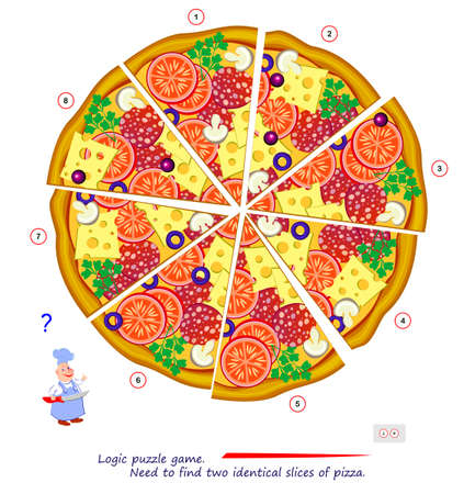 Logic puzzle game for children and adults. Find two identical slices of pizza. Memory exercises for seniors. Printable page for kids brain teaser book. Developing spatial thinking. Play online. Ilustracja