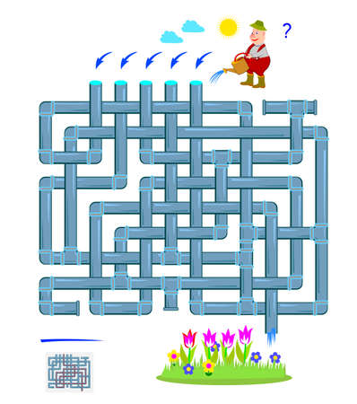 Logic puzzle game with labyrinth for children and adults. Help the gardener water a flower bed. Maze with tubes. Worksheet for kids brain teaser book. Play online. Flat vector illustration. Ilustracja