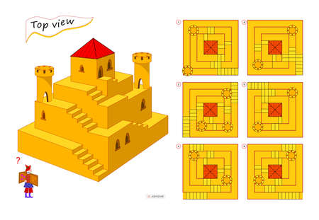Logic puzzle game for children and adults. 3D maze. Need to find correct top view of tower. Printable page for brain teaser book. Developing spatial thinking skills. IQ test. Flat illustration. Ilustracja