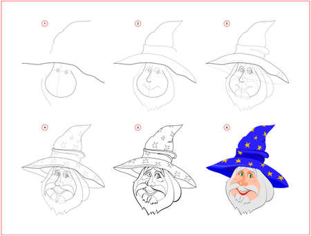Page shows how to learn step by step to draw cute smiling wizard. Developing children skills for drawing and coloring. Printable worksheet for kids school exercise book. Flat vector illustration.