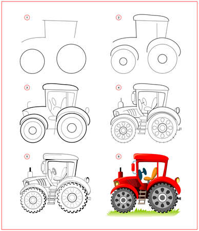 Page shows how to learn to draw step by step toy tractor. Developing children skills for drawing and coloring. Printable worksheet for kids school exercise book. Flat vector illustration.
