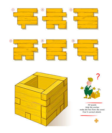 Logic game for smartest. 3D puzzle. Help the worker make the box from wood. Find 4 correct details. Brain teaser book. Play online. Developing spatial thinking skills. Memory training for seniors. Ilustração