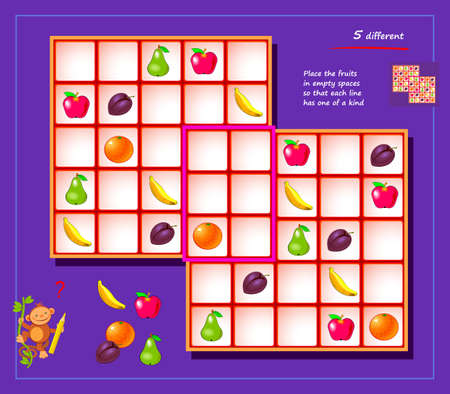 Sudoku for kids. Page for brain teaser book. Logic puzzle game for children and adults. Play online. Memory training for seniors. Place fruits in empty spaces so that each line has one of a kind.