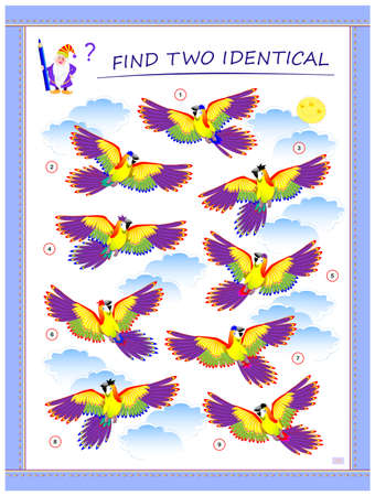 Logic puzzle game for children and adults. Find two identical parrots. Memory exercises for seniors. Printable page for kids brain teaser book. Developing spatial thinking. IQ test. Play online. Ilustração