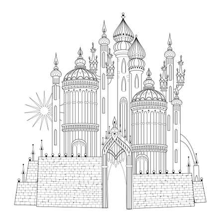 Fantasy illustration of medieval Eastern castle. Fairyland kingdom. Black and white page for coloring book. Worksheet for drawing and meditation for children and adults. Ancient architecture.