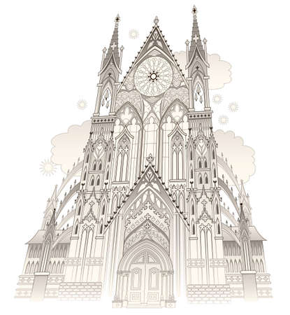 Fantasy drawing of old Gothic castle with stained glass windows. Medieval kingdom. Middle ages in Western Europe. Illustration for kids fairy tale book. Background for poster, banner, travel company. Ilustração