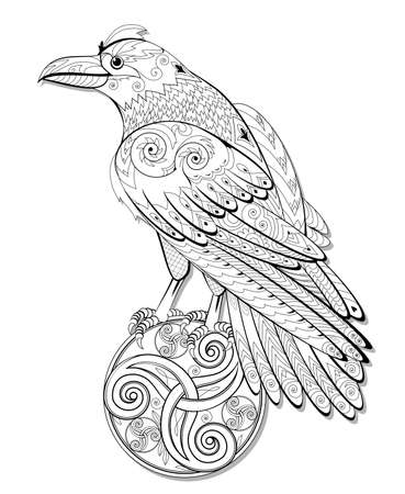 Illustration of magic fairyland crow from ancient Celtic legend. Black and white page for kids coloring book. Print for   tattoo. Sheet for drawing and meditation for children and adults.