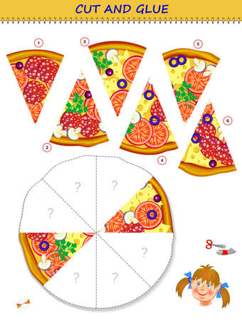 Logic puzzle game. Cut and glue the slices of pizza in correct places. Educational page for children. Printable template with exercise for kids. Play online. IQ test. Memory training for seniors. Ilustração