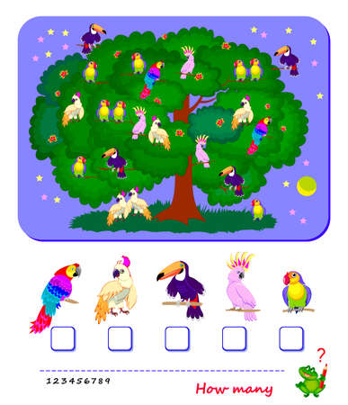 Math education for children. Count quantity of parrots and write numbers. Worksheet for school textbook. Kids activity sheet. Game task for attention. Logic puzzle. Flat illustration. Play online.