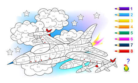 Math education for little children. Coloring book. Mathematical exercises on addition and subtraction. Solve examples and paint the military aircraft. Developing counting skills. Worksheet for kids.
