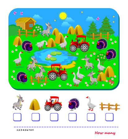 Math education for children. How many images can you find in the picture? Count quantity and write numbers. Worksheet for school textbook. Kids activity sheet. Logic puzzle game. Play online.