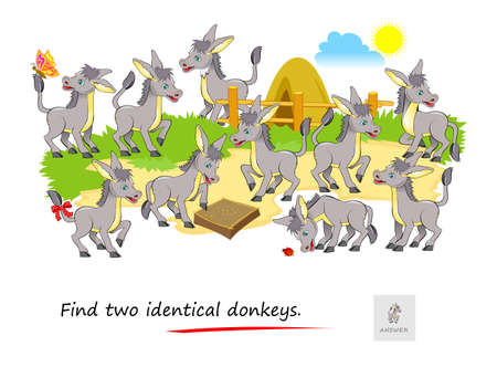 Logic puzzle game for children and adults. Find two identical donkeys. Memory exercises for seniors. Printable page for kids brain teaser book. Developing spatial thinking. IQ test. Play online.