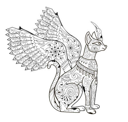 Illustration of magic fairyland animal from ancient legend. Black and white page for kids coloring book. Print for logo or tattoo. Sheet for drawing and meditation for children and adults. Mythological animal.