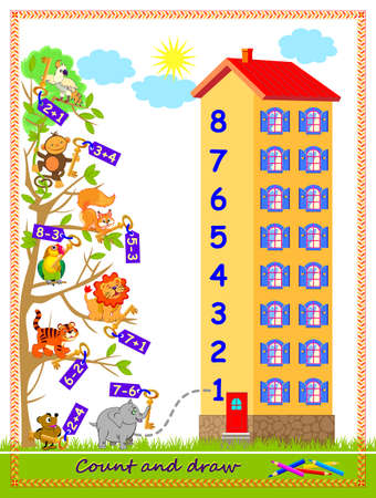 Math education for children on addition and subtraction. On what floor of the house lives every animal? Solve examples and draw the lines. Logic puzzle game. Worksheet for kids textbook. Play online.