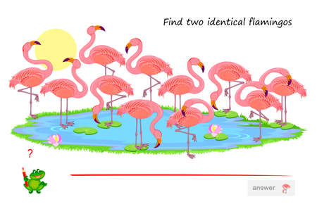 Logic puzzle game for children and adults. Find two identical flamingos. Memory exercises for seniors. Printable page for kids brain teaser book. Developing spatial thinking. IQ test. Play online.