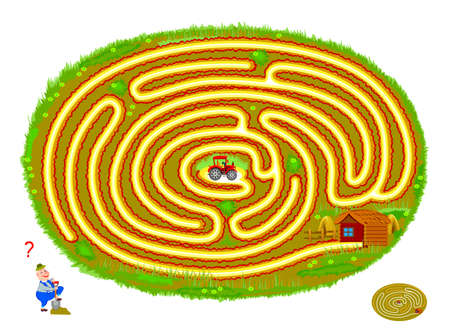 Logic puzzle game with labyrinth for children and adults. Help the tractor find the way out of the field. Worksheet for kids brain teaser book. Play online. Vector illustration with maze.