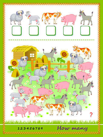 Math education for children. How many farm animals can you find? Count quantity and write the numbers. Developing counting skills. Logic puzzle game. Worksheet for kids school textbook. Play online. Ilustracja