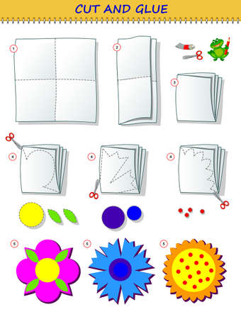 Educational page for children. Template with exercise for kids. Use a scissors to cut from sheet of paper beautiful spring flowers. Logic puzzle game. Developing skills for cutting and handwork.