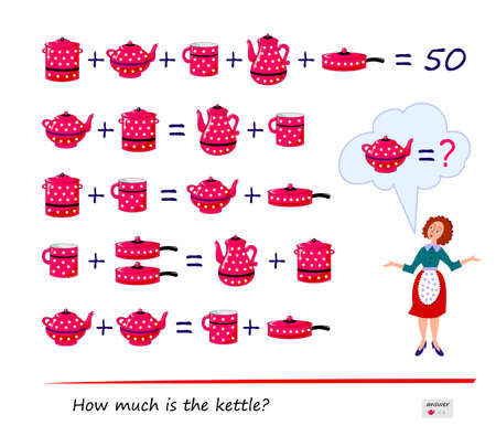 Mathematical logic puzzle game for smartest. How much is the kettle? Solve examples and find solution. Page for brain teaser book. Play online. Memory training for seniors. Ilustração