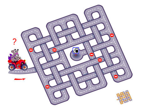 Logic puzzle game with labyrinth for children and adults. Help the motorbike driver find the way to the gas station. Worksheet for kids brain teaser book. Play online. Flat vector illustration.