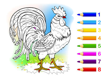 Math education for little children. Coloring book. Mathematical exercises on addition and subtraction. Solve examples and paint the rooster. Developing counting skills. Worksheet for kids. Ilustração