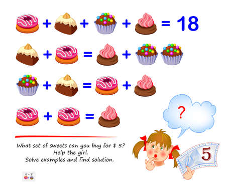 Mathematical logic puzzle game for smartest. What set of sweets can you buy for $ 5? Help the girl. Solve examples and find solution. Brain teaser book. Play online. Memory training for seniors. Ilustração