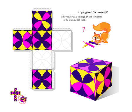 Logic game for smartest. Color the blank squares of the template so to match the cube. Page for brain teaser book. Developing spatial thinking. 3D puzzle. Memory training for seniors. Play online.