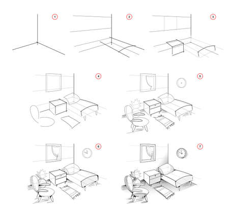 Page shows how to learn to draw sketch of interior bedroom. Creation step by step pencil drawing. Educational page for artists. Textbook for developing artistic skills. Online education. Ilustracja