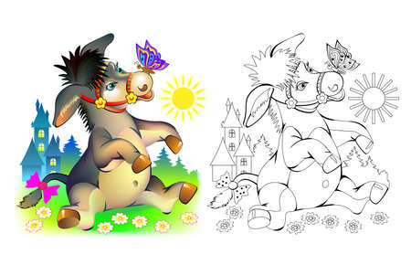 Colorful and black and white page for coloring book. Illustration of cute little donkey. Printable worksheet for children exercise book. Online education. Clip-art cartoon vector. Animals for kids.