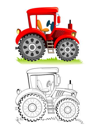 Colorful and black and white template for coloring. Cute toy tractor model. Illustration for boys. Worksheet for kids. Coloring book for children and adults. Flat cartoon vector.
