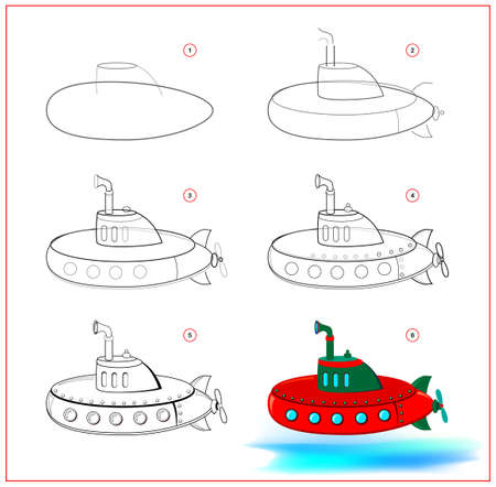 Page shows how to learn to draw step by step toy submarine. Developing children skills for drawing and coloring. Printable worksheet for kids school exercise book. Flat vector illustration. Ilustracja