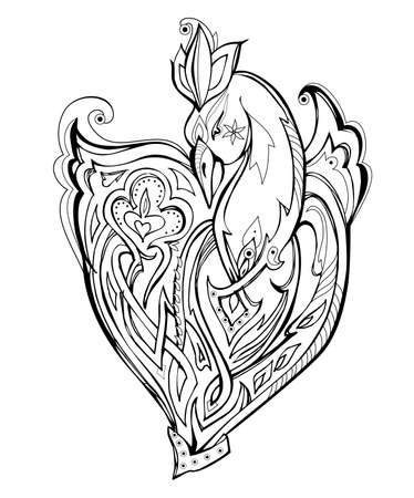 Symbolic illustration of magic fairyland bird from ancient legend. Black and white page for kids coloring book. Print for logo or tattoo. Sheet for drawing and meditation for children and adults. Ilustração