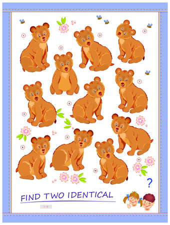 Logic puzzle game for children and adults. Need to find two identical bears. Printable page for kids brain teaser book. Developing spatial thinking skills. IQ test. Play online.