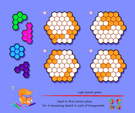 Logic puzzle game for children and adults. Need to find correct place for 4 remaining details in each of honeycombs. Page for kids brain teaser book. Developing spatial thinking. Play online.