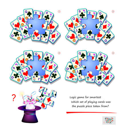 Logic game for children and adults. Which set of playing cards was the puzzle piece taken from? Page for kids brain teaser book. Developing spatial thinking skills. Play online. Cartoon illustration. Ilustração