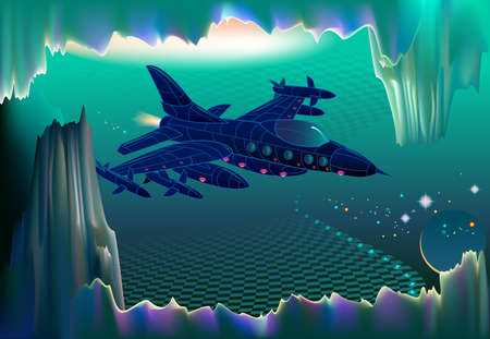 Fantastic flight of fabulous warship from the future in three-dimensional space. Military adventure on a distant alien planet. Futuristic fantasy landscape for science fiction. High tech technology.