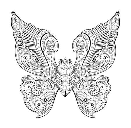 Illustration of magic warlike butterfly from ancient legend. Black and white page for kids coloring book. Print for logo or tattoo. Sheet for drawing and meditation for children and adults.