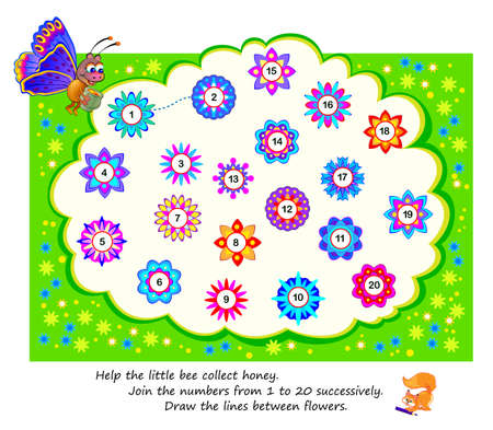 Math education for children. Help the little bee collect honey. Join the numbers from 1 to 20 successively. Draw the lines between flowers. Logic puzzle game for kids. Developing counting skills. Иллюстрация