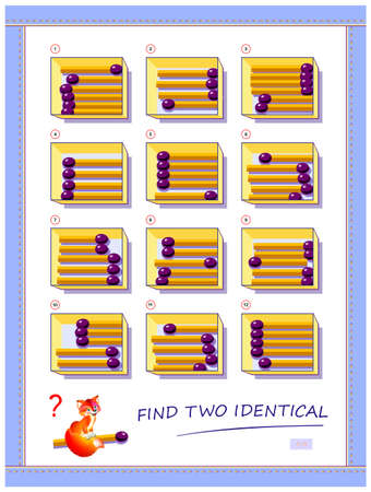 Logic puzzle game for children and adults. Need to find two identical boxes with matchsticks. Printable page for kids brain teaser book. Developing spatial thinking skills. IQ test. Play online. Иллюстрация